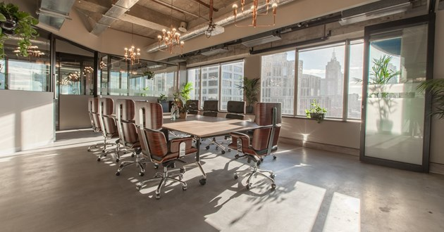 Modern Sophisticated Boardroom with City Views
