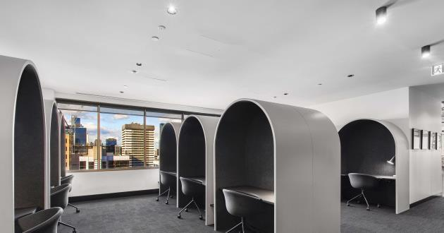 Semi-Private Hot Desk Booth with Natural Light