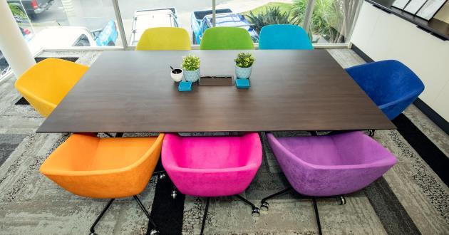 Bright Coloured 8 Person Boardroom - Fortitude Valley!